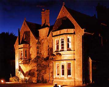 Burcombe Manor at night